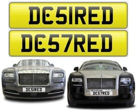 DESIRED cherished private personalised number plate car reg. DESI RED - DC51RED DC57RED