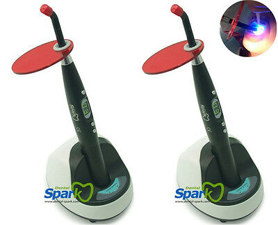 2x Spark Dental Black Wireless Cordless Led Curing Light Cure Lamp 9w 2000mw Ce