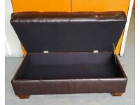 Ottoman Rectangular Real Leather Storage Trunk Puff Bench