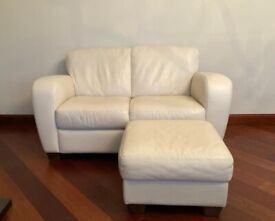 3 x Two Seater Sofas and Matching Pouffe in Light Cream Leather