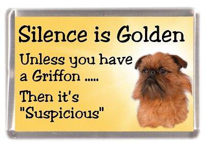 """Griffon Bruxellois Dog Fridge Magnet """"Silence is Golden .."""" by Starprint"""