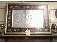 Beautiful hand painted flowered and gold mirror