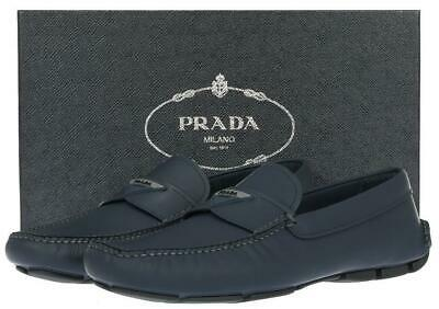 NEW PRADA BLUE MATTE LEATHER LOGO DRIVER MOCCASINS LOAFERS SHOES 10US 11