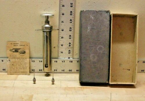 Vintage B-D Champion No 507/40 Veterinary Syringe Stainless Steel Glass Cylinder