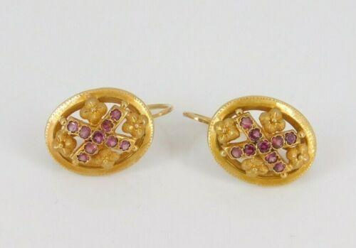 Vintage / Antique Victorian 18k Yellow Gold Rhodolite Garnet Pierced Earrings