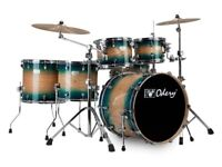 Odery Fusion 101 Blue Burst 6 piece shell set and hardware, with drum sticks and silencer pads