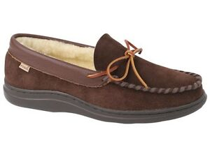 L-B-Evans-Mens-Atlin-Boa-Moccasin-Slipper-Chocolate-and-Boa-FREE-SHIPPING