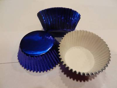 48 Blue Foil Cupcake Liners Baking Cups Cake Candy Cookie Decorations