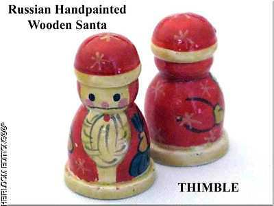WOODEN RUSSIAN SANTA THIMBLE