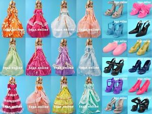 Lot 12 Item Dress + Shoes Clothes Party Gown For Barbie