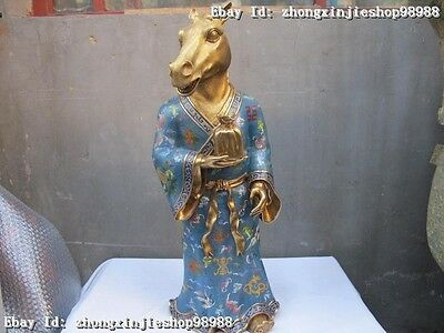 Huge China Regius Cloisonne Bronze 24K Gold Zodiac Year Animal Horse God Statue