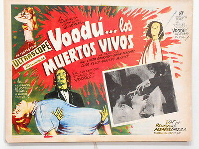 Voodoo THE DEAD ONE Blood of the Zombie  Lobby Card Poster New Orleans 1961