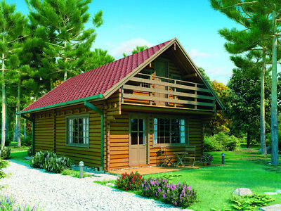 1000sq ft 19'x34'split level Log Cabin guest vacation pool house DIYBuilding Kit