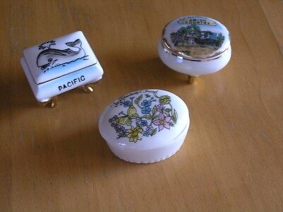Group 3 Souvenir Porcelain Trinket Boxes Amish Country Pacific Marineland   More