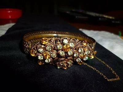 Antique Edwardian Vintage Signed Germany Gold Filigree Citrine Peridot Bracelet