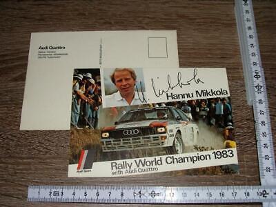 Orig. Card Cartolina Audi quattro Rally Sport World Champion 1983 Hannu Mikkola for sale  Shipping to Nigeria
