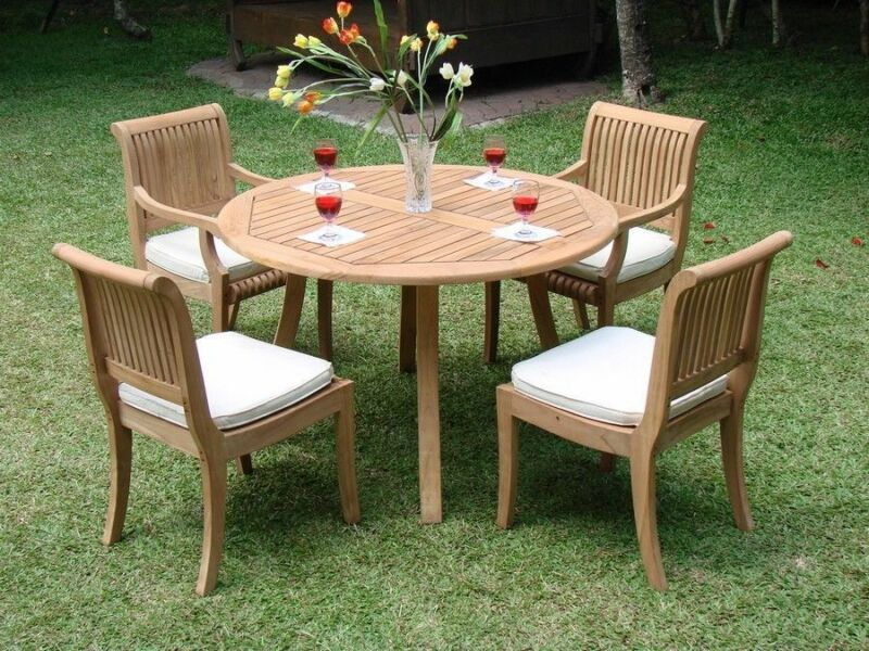 "5 Pc Dining Teak Set Outdoor Patio Furniture Giva Arm/armless  (48"" Round Table)"