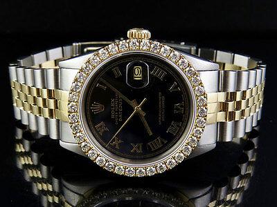 Mens Rolex 18K/ Steel Datejust Two Tone 36MM Black Dial Diamond Watch 3.25 Ct