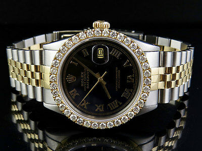 Rolex - Mens Rolex 18K/ Steel Datejust Two Tone 36MM Black Dial Diamond Watch 3.25 Ct
