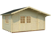 4.5m x 3.3m LOG CABIN WITH SIDE STORE