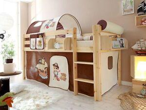 cameretta bambini, letto a soppalco in legno pino naturale, scelta ... - Camerette In Legno Naturale