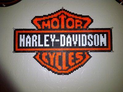 Harley Davidson perler wall art hama kandi  rave edm edc plur bead motorcycle