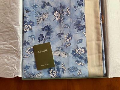 """Fine CHRISTOFLE Tablecloth Table Linen 100% Cotton 71""""x 106"""" Blue Floral"""