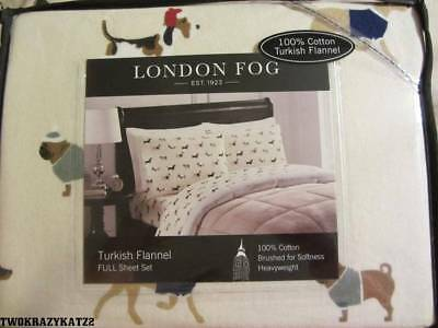 LONDON FOG TURKISH FLANNEL FULL SHEET SET DOGS