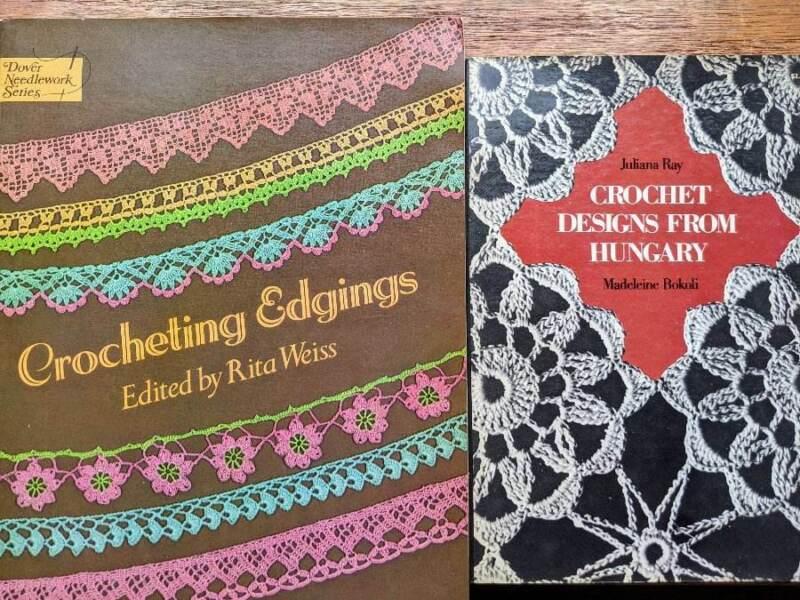Lot of 2 Vintage Crochet Pattern Books Edgings & Hungarian Designs