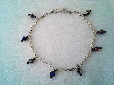 Anklet Glass Crystals Purple/Black Silver Plated Chain 10in GB Handmade USA New