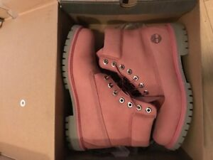Pink and grey mens Timberland work boots in box