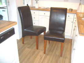 2 Real Leather Dining Chairs (Excellent Condition)
