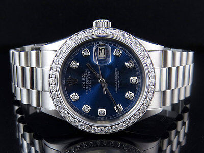 Mens Stainless Steel Rolex Datejust Blue Presidential 36MM Diamond Watch 2.5 Ct