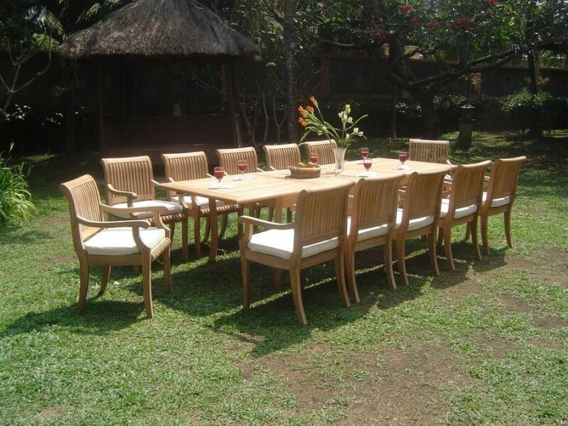 "13-piece Outdoor Teak Dining Set: 117"" Rectangle Extn Table, 12 Arm Chairs Giva"