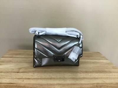 Michael Kors Cece Medium Convertible Leather Shoulder Bag Silver Gunmetal NWT