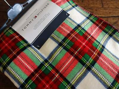 TOMMY HILFIGER Red Green TARTAN PLAID Reversible PLUSH SHERPA THROW BLANKET