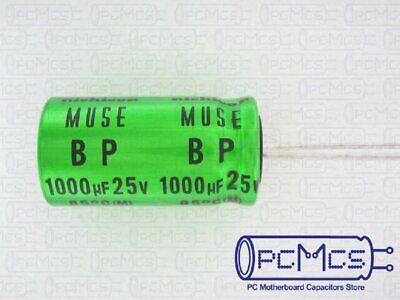 2 X Nichicon 25v 1000uf Muse Es Bp Bi-polarized Japan Made Audio Hi-fi Capacitor