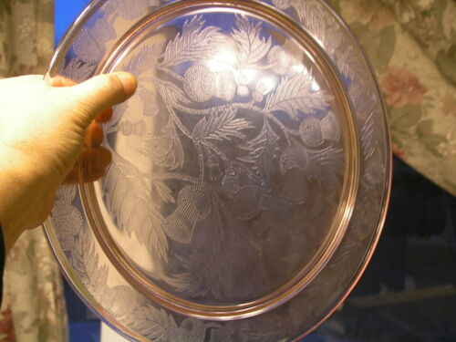 MacBeth-Evans Thistle Pattern Pink Depression Glass Cake Plate 13 inches 1929-30