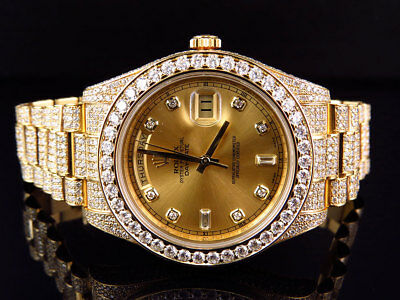 18k Mens Yellow Gold Rolex Day-Date 2 Presidential 41MM with 30 Ct VS Diamond