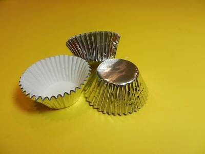 48 Mini Silver Foil Cupcake Liners Baking Cups Truffle Candy Party Favors