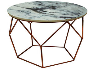 Copper /Antique Gold Side Table With Grey Marble-Look alike MDF Top 40 Wx55 H cm