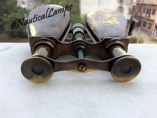 Antique Solid Brass Vintage Binocular Folding Monocle Telescope Spyglass Gift