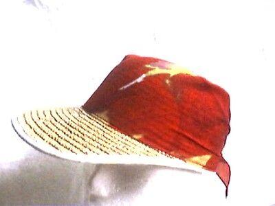 Strohhut Sommercap Basecap natur mit Bandana Strohcap Bortenstroh  ()