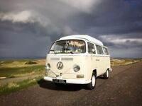 VW CAMPER VAN & CLASSIC BEAUFORD WEDDING CAR HIRE IN EDINBURGH, FIFE, BATHGATE Proms West Lothian