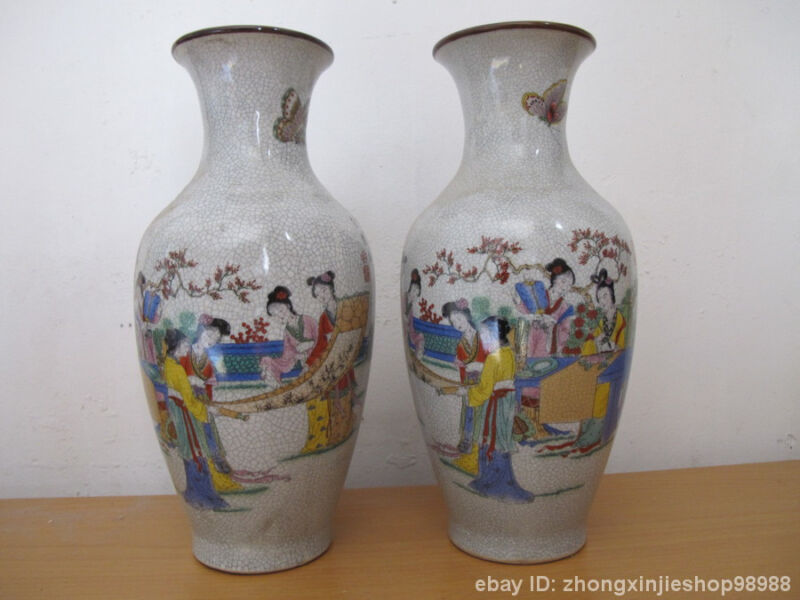 Chinese vintage WuCai porcelain Ladies  Queen Vase statue Pair