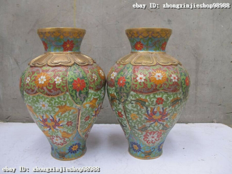Chinese Royal Palace 100% Purple Bronze cloisonne bloom Flower Pot Vase Pair