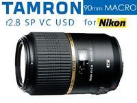 Tamron 90mm f2.8 Macro 1:1 SP Di VC USD Lens for Nikon Full Mount - Boxed As New
