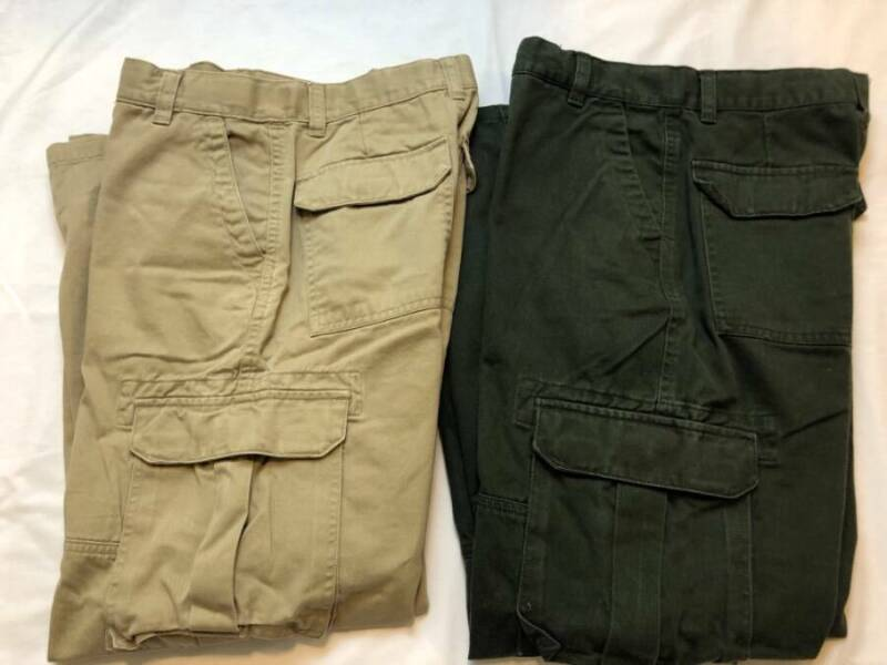 2 Pairs BOY Size 14 Carpenter Pants Lot Painters Cargo Khakis Green Tan Loose