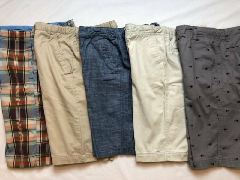 5 Pairs BOYS Size XL 16 Shorts Lot Chinos Khakis Preppy Tan Gray Plaid Blue