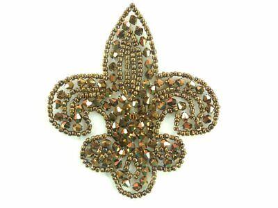 Fleur De Lis Bronze Beaded Applique Motif 3.5